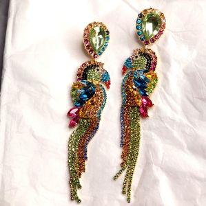 Rhinestone Parrot Multi-Colored Earrings